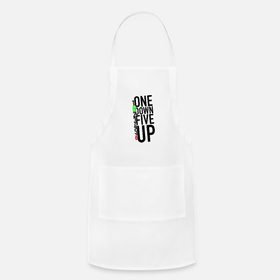 Street Aprons - 1N23456 One Down Five Up | Motorbike, Motorcycle - Apron white