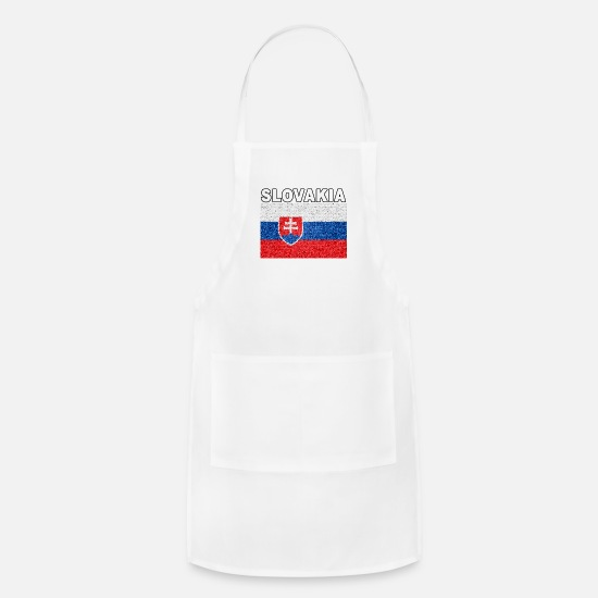Slovakia Aprons - Slovakia Flag Stained Glass Effect Deluxe - Apron white