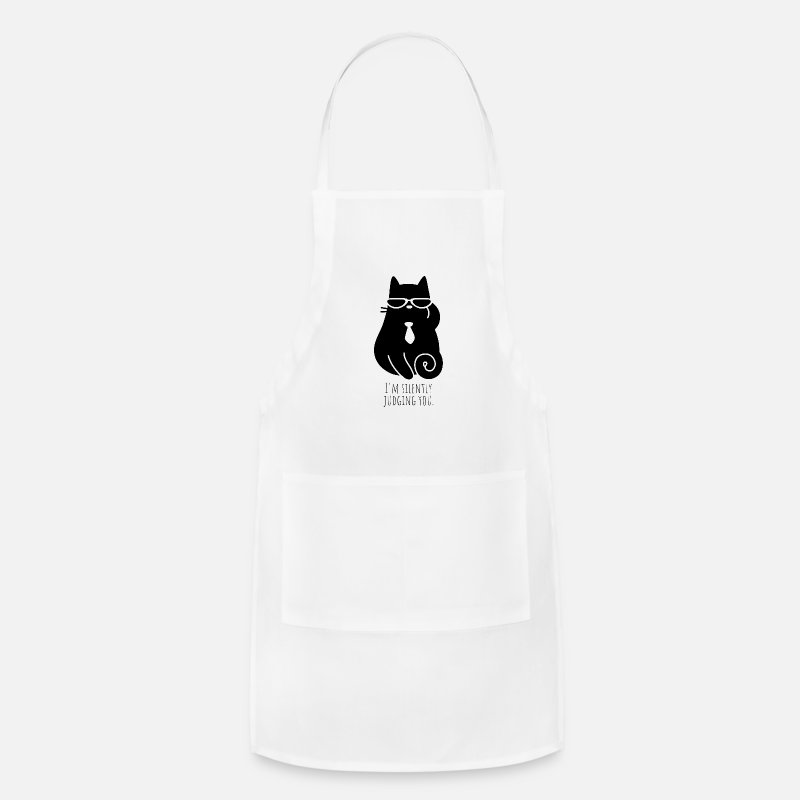 Kitty Cat Aprons - I'm Silently Judging You | Mean Kitty - Apron white