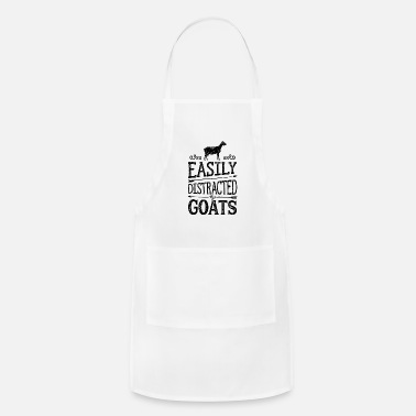 Cow-girl Easily Distracted By Goats T shirt Cow Farmer - Adjustable Apron