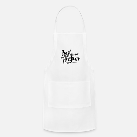 Archer Aprons - Bullseye Archer Archery Bow Hunting Bow and Arrow - Apron white