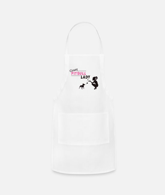 Pitbulldogshirts Aprons - Crazy Pitbull Lady - Apron white