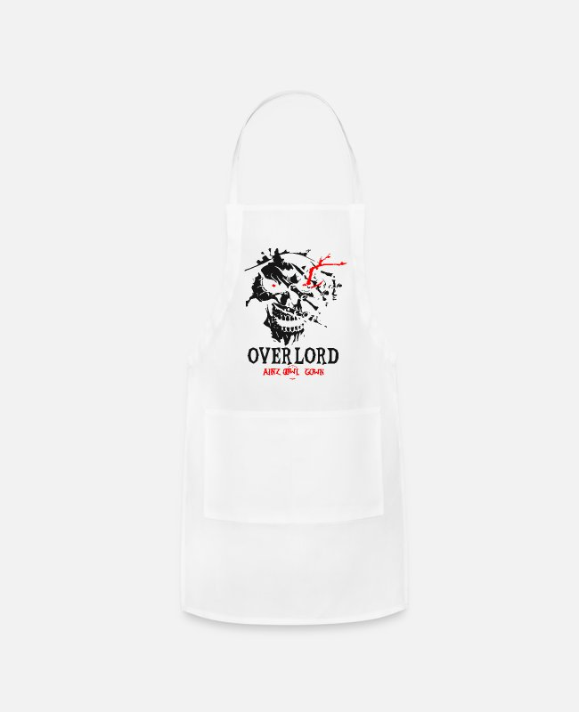 Graphic Art Aprons - Overlords Graphic Skul Ainz Ooal Gown 1 - Apron white