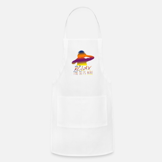 Raver Aprons - Relax The DJ is Here Deejay Party Vinyl - Apron white