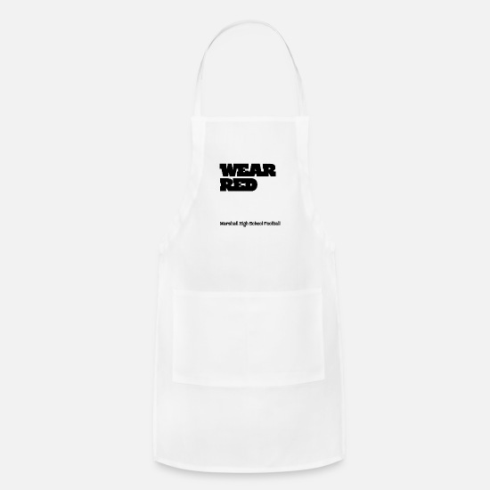 Game Aprons - Wear Red Be Proud Marshall High Football - Apron white