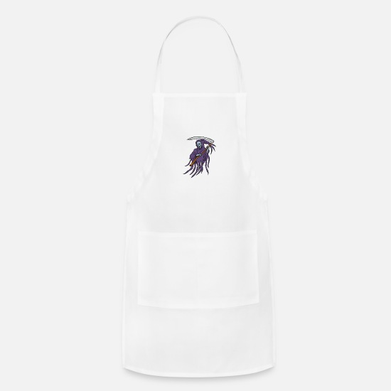 Death Aprons - Grim Reaper Drawing - Apron white