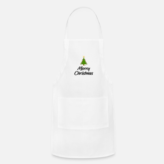 Gift Idea Aprons - Merry Christmas - Tree - Santa Claus - Xmas - Joy - Apron white