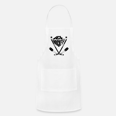 Ice hockey sticks crossbred and ice skates puck - Apron
