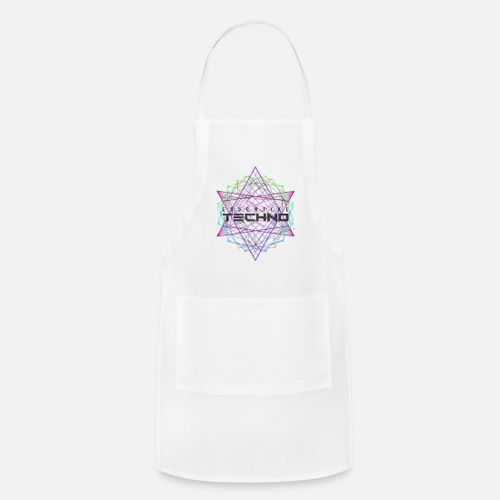 Dubstep Aprons - Essential Techno House Electronic Music Party EDM - Apron white