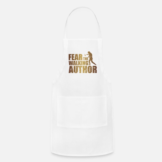 Birthday Aprons - Fear the walking author writing t-shirt - Apron white