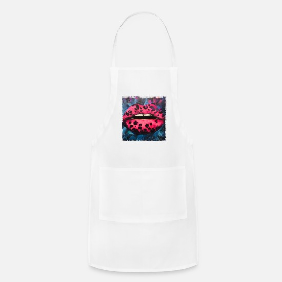 Art Aprons - Red lips - Apron white
