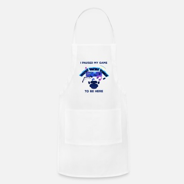 Pause Funny Video Game Gamer Fan Lover Addict - Apron