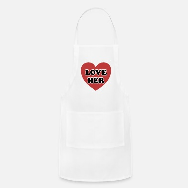 Language I LOVE HER GIFT FOR VALENTINE´S DAY HIM HER - Adjustable Apron