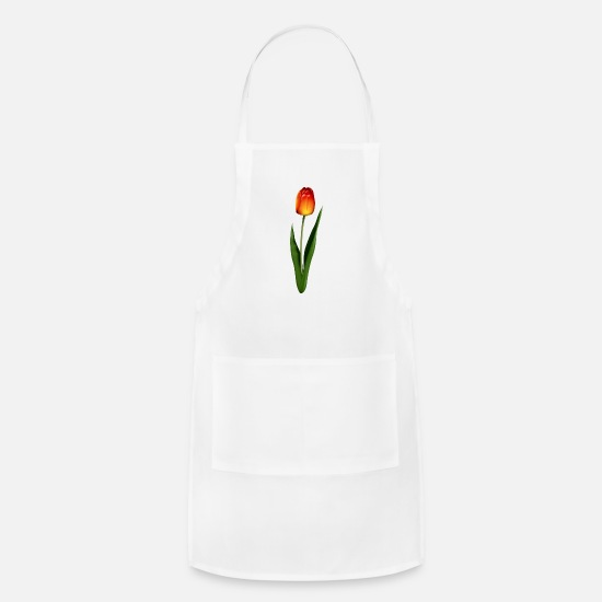 Tulip Aprons - Orange Tulip - Apron white