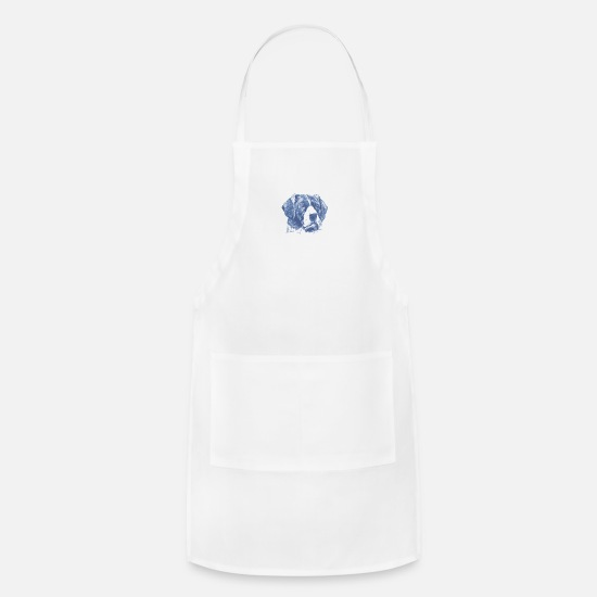 Black Aprons - big black dog face - Apron white