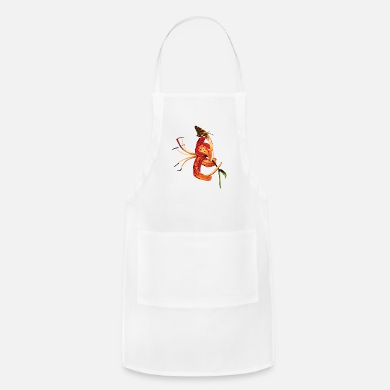 Skipper Aprons - Skipper on Orange Tiger Lily - Apron white