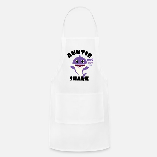 Shark Aprons - Auntie Shark design Gift - Cute Baby Shark - Apron white