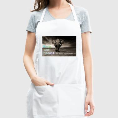 save our planet - save the elephant - Adjustable Apron