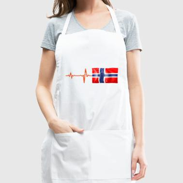 Heartbeat Norway flag gift - Adjustable Apron