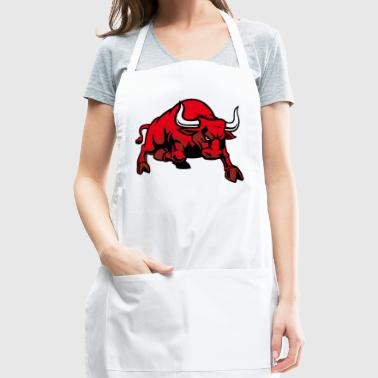Cool red bull wildlife animal cow vector image car - Adjustable Apron
