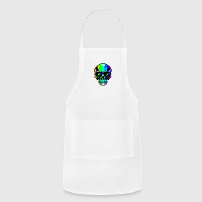 edm neon Skull with lightning bolts in sunglasses - Adjustable Apron