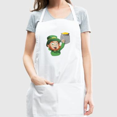 Leprechaun Reaching For Pot Of Gold In Fake Pocket - Adjustable Apron