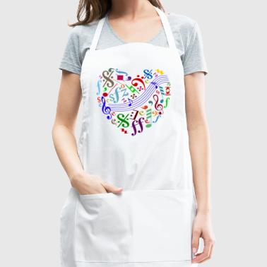 heart out of music signs and notes - Adjustable Apron