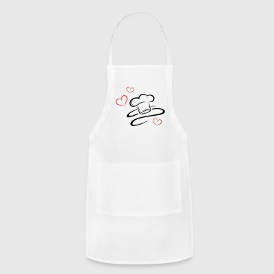Cook, logo, chef hat with three hearts. - Adjustable Apron