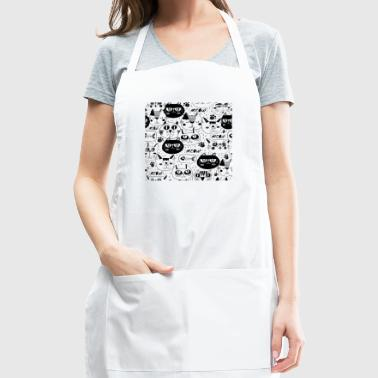 cat faces pattern background - Adjustable Apron