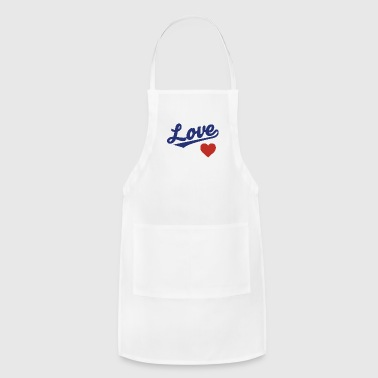 Love Heart - Cursive Team Design (Blue/Red) - Adjustable Apron