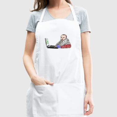 cute baby boy with laptop caricature - Adjustable Apron