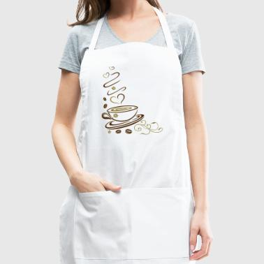 Coffee Cup with coffee beans and hearts. - Adjustable Apron