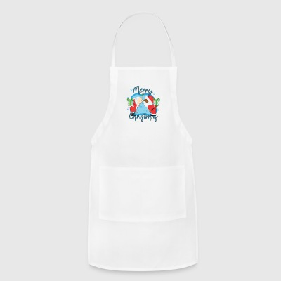 African American Santa kissing White Mrs. Claus - Adjustable Apron