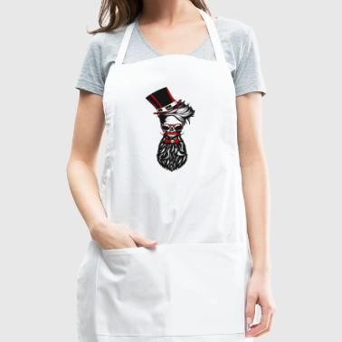 skull hipster bearded beard mustache hat bowtie - Adjustable Apron