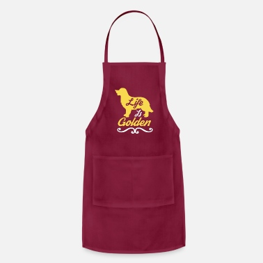 Golden Life is Golden Retriever Gold Silhouette Gift Idea - Adjustable Apron