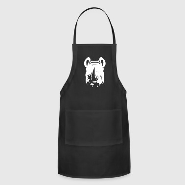 Large Rhino Head White Rhinoceros Mammal Design - Adjustable Apron