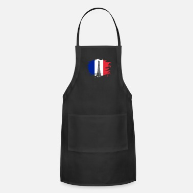 French Flag France Paint Splatter Flag French Pride Design - Adjustable Apron