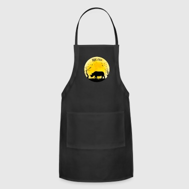 Rhino Halloween Vintage Retro Moon - Adjustable Apron