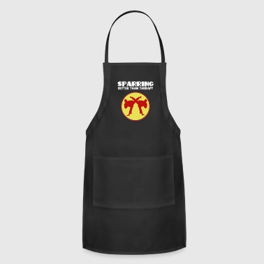 The Fighter's Sparring Tshirt Design SPARRING BETTER THAN THERAPY - Adjustable Apron