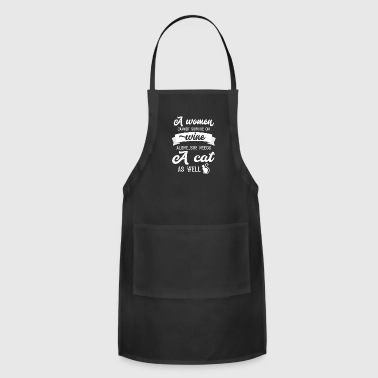 Woman Power A Woman Cannot Survive On Wine Alone She Needs A Cat As Well - Adjustable Apron