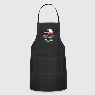 Person American Grown with Saxon Roots Saxony Design - Adjustable Apron