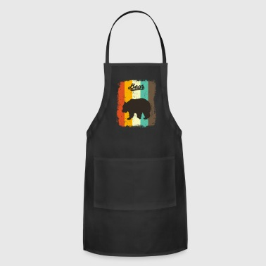 70s Bear Retro 70s Vintage Animal Lover Gift - Adjustable Apron