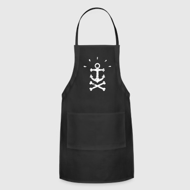 Cool Pirate Anchor WHITE Gift Idea Stencil Design - Adjustable Apron