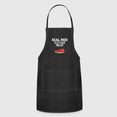 Funny Barbecue Shirt Real men rub their meat - Adjustable Apron