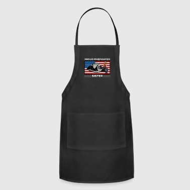 Proud Firefighter Sister With My Hero Ribbon - Adjustable Apron