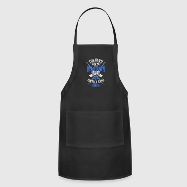 The Devil Saw Me With My Head Down White/Blue - Adjustable Apron