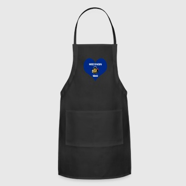 Heart Wisconsin Love country America USA gift idea - Adjustable Apron