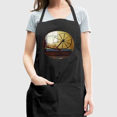 Large Spinning Wheel Near Lace Curtain - Adjustable Apron