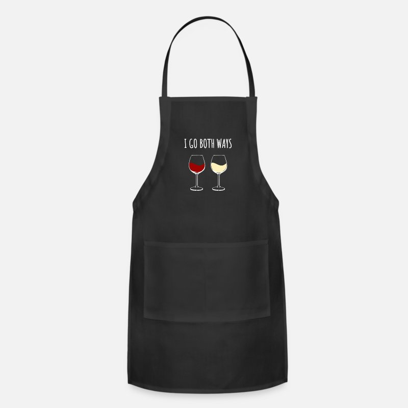 Birthday Aprons - Red Wine and White Wine - Apron black