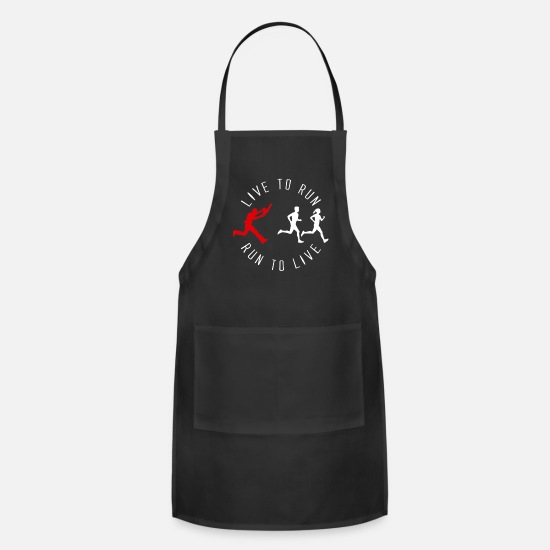 Running Aprons - Live to Run Run To Live Running Funny - Apron black